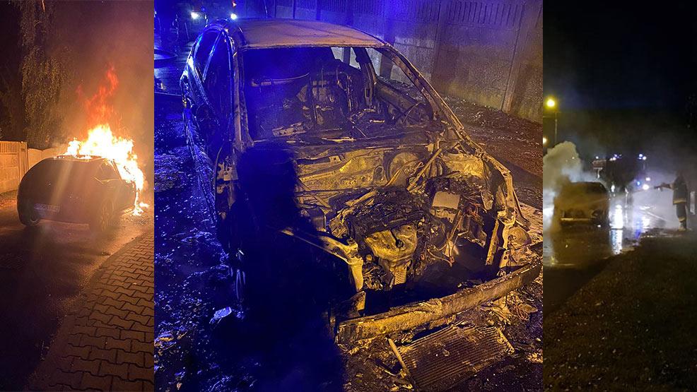 Samochód zapalił się podczas podróży przez Kunowo - Zdjęcie główne