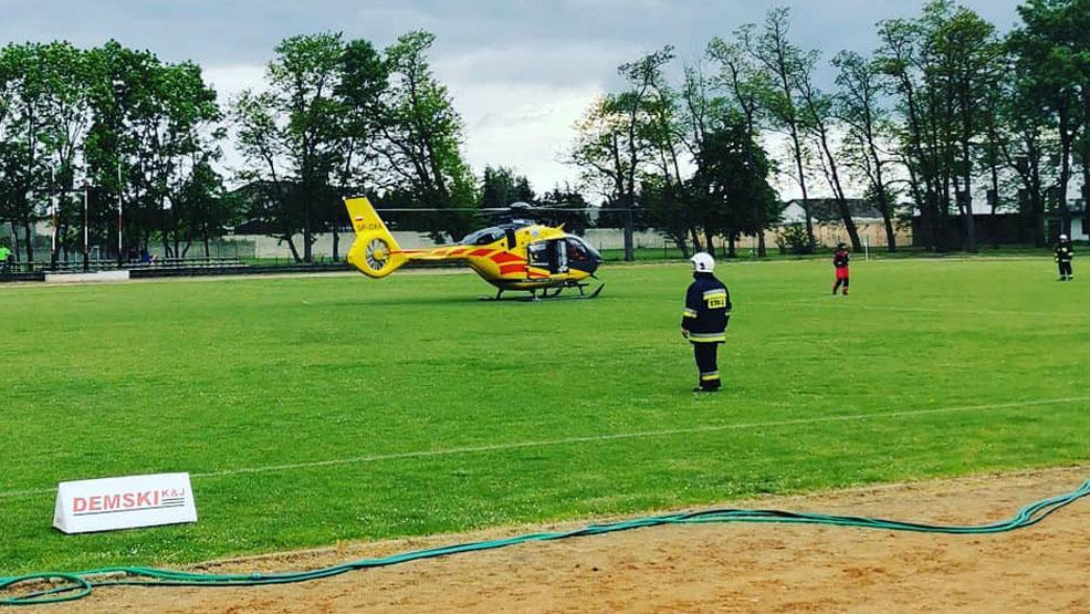 Akcja ratunkowa z udziałem LPR i strażaków główną atrakcją meczu w Borku Wlkp. - Zdjęcie główne