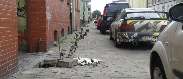 Wielka dziura w chodniku. Starsza kobieta prawie się połamała. Kto zainteresuje problemem na ul. Dąbrowskiego w Jarocinie? [AKTU - Zdjęcie główne
