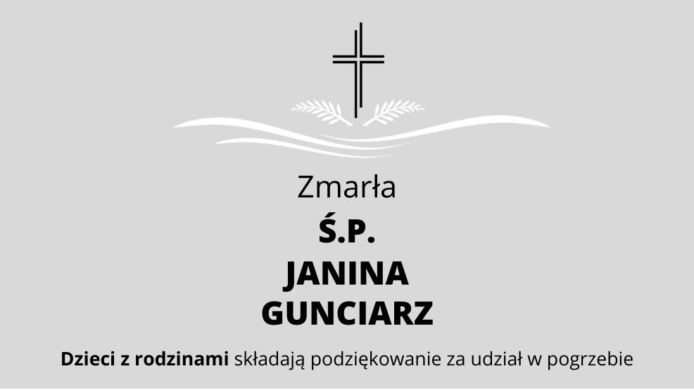 Zmarła Ś.P. Janina Gunciarz - Zdjęcie główne