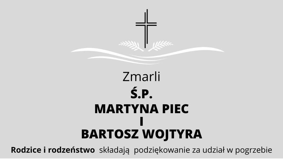 Zmarli Ś.P. Martyna Piec i Bartosz Wojtyra - Zdjęcie główne