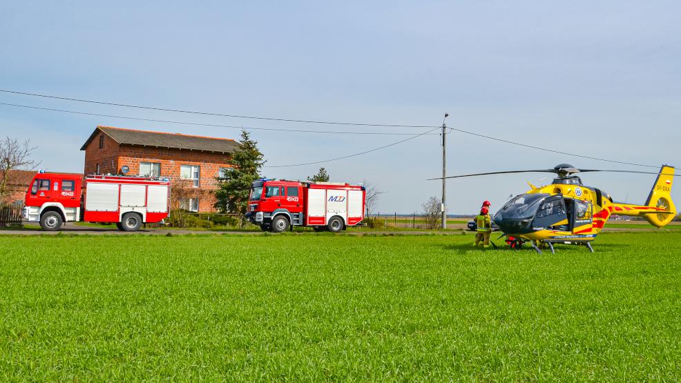 Helikopter Lotniczego Pogotowia Ratunkowego lądował w Dąbrowie - Zdjęcie główne