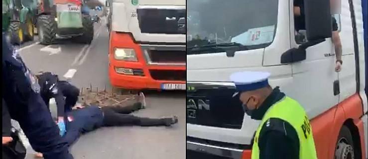 """Protest rolników. Kierowca ciężarówki nie wytrzymał. """"Bandyta, bandyta"""" - słychać. Interweniuje policja.  [AKTUALIZACJA]  - Zdjęcie główne"""