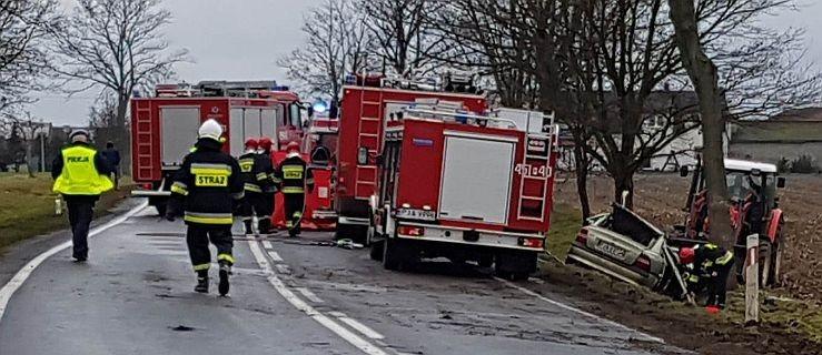Wypadek na DK 12. Samochód uderzył w drzewo. Dwie osoby poszkodowane - Zdjęcie główne