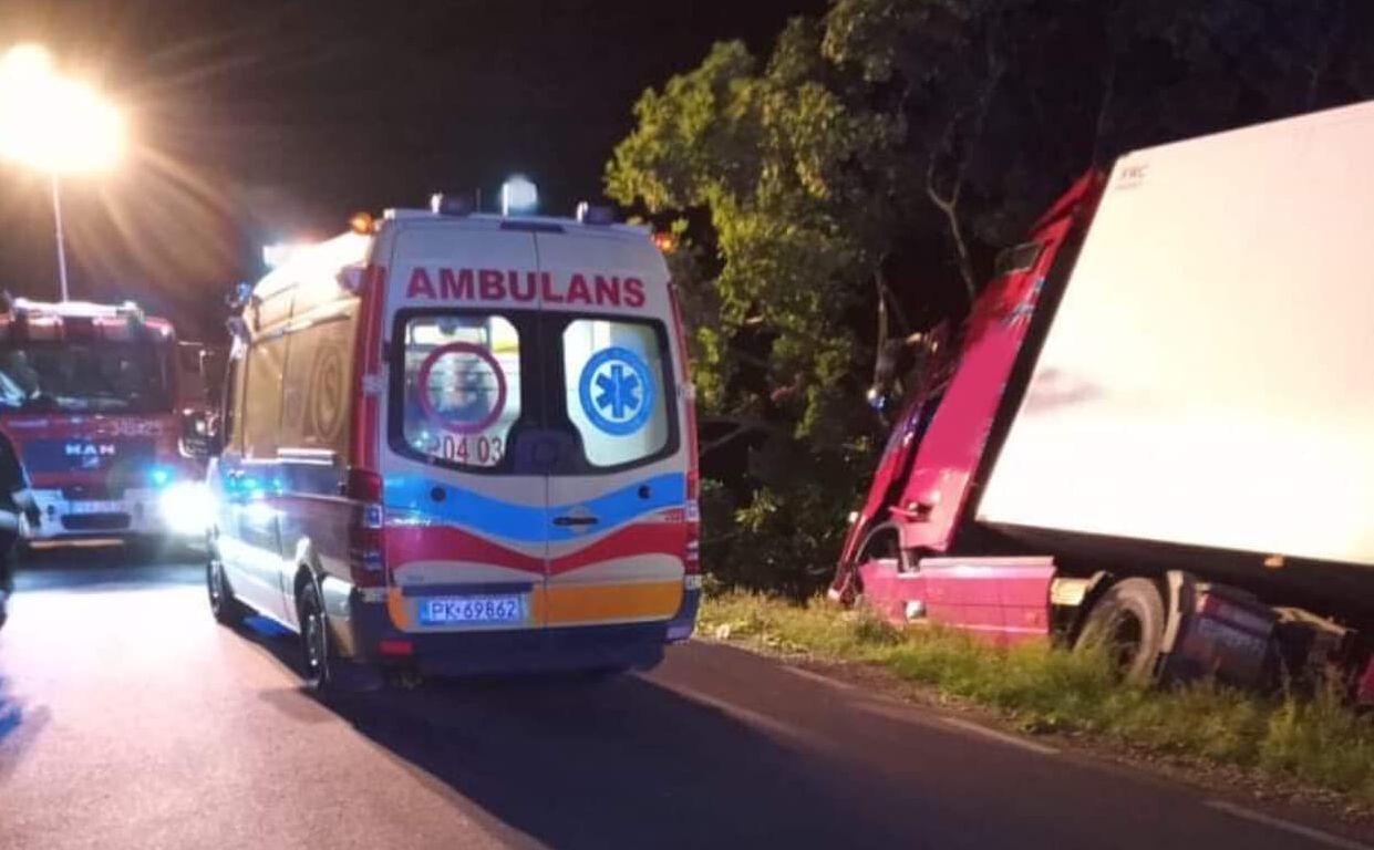 Tragiczny wypadek pod Kaliszem. Ciężarówka uderzyła w drzewo - Zdjęcie główne